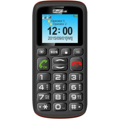 MaxCom MM428BB Mobiltelefon, kártyafüggetlen, Black Red (Fekete - Piros)