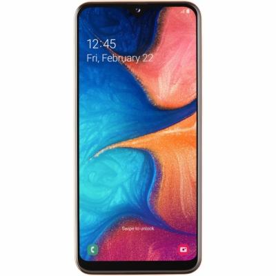Samsung Galaxy A20E Mobiltelefon, Kártyafüggetlen, Dual Sim, 32GB, Narancs