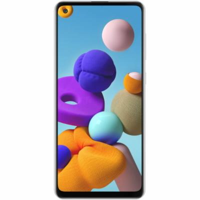 Samsung Galaxy A21S Mobiltelefon, Kártyafüggetlen, Dual Sim, 32GB, Fehér