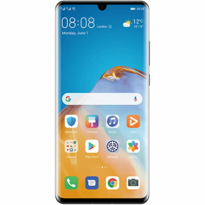 Huawei P30 Pro Mobiltelefon, Kártyafüggetlen, Dual Sim, 8GB/256GB, Black (fekete)
